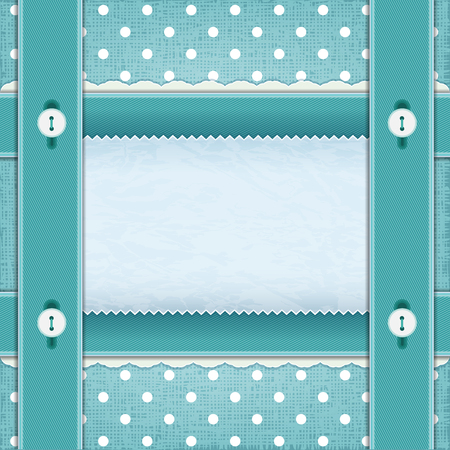 webbing: Frame with ribbons and buttons, fabric background. The idea for scrapbooking