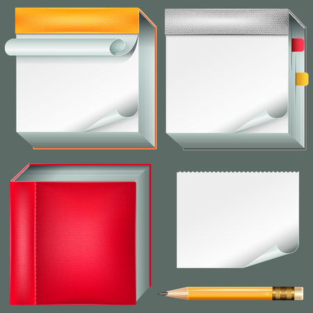 Set in leather covers of notebooks and pencil with eraser. Vector