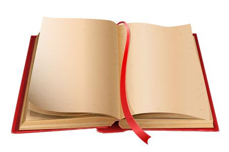 空白のページが白い背景で隔離の古いの開いた本