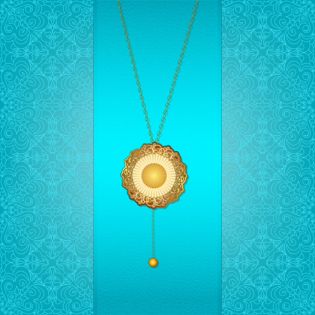 Beautiful blue background with a gold chain