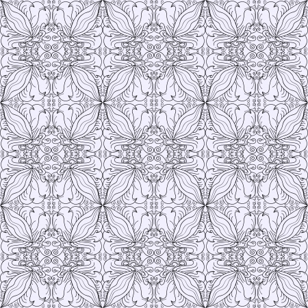 Contour seamless floral pattern