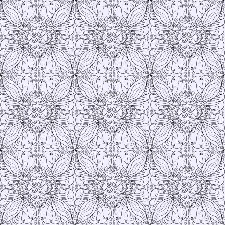 blackandwhite: Contour seamless floral pattern