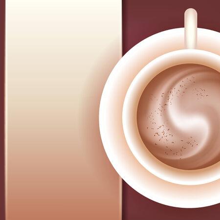 vista desde arriba: Caf� con nata y virutas de chocolate. Vista desde arriba. El patr�n original para el men�. Lugar para el texto
