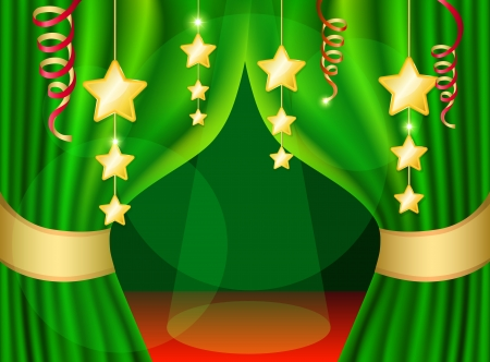 Een scène met een groen gordijn en feestelijke verlichting, achtergrond
