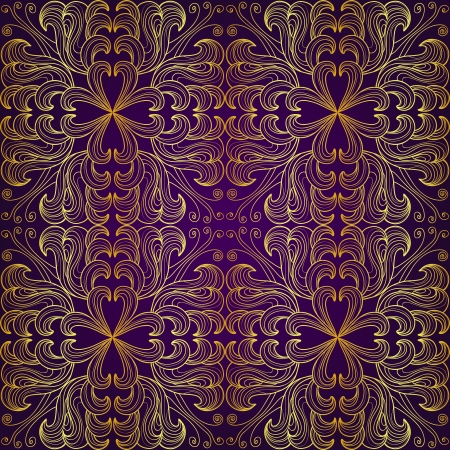 Golden seamless floral pattern on a purple background Vector