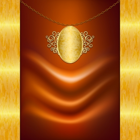 Unusual background with satin fabric and gold pendant Vector