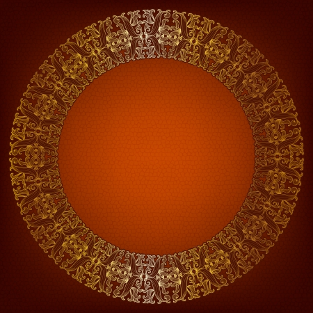 Luxurious gold round frame on an old brown background