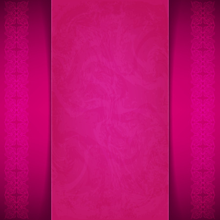 Beautiful burgundy card with seamless vertical border. Place for your text Vector