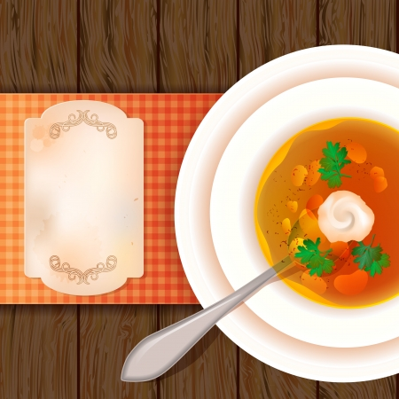 russian cuisine: A plate of soup on a wooden table. View from above. Rustic style. The idea to design a menu. Place for your text Illustration