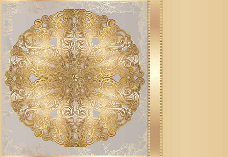 Luxury card with a rich lace pattern. Luxurious gold gift card. idea for invitations. there is a place for your text Vector