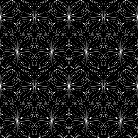 Thin black and white floral pattern