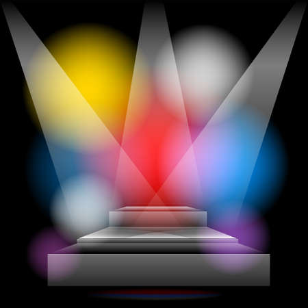 brightly lit: Podium brightly lit with colored lights