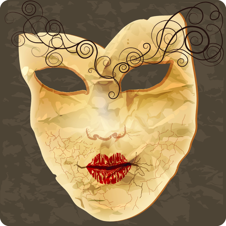 Venetian mask on crumpled paper, the effect of grunge  Raster copy of vector image Stock Vector - 23565304