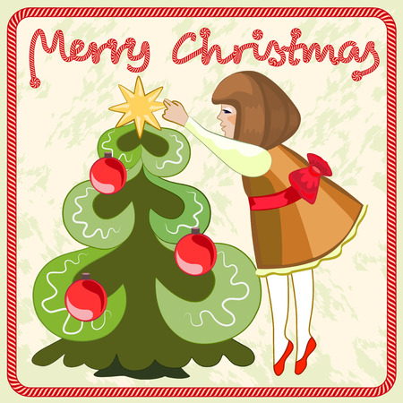 The little girl decorates the Christmas tree Vector