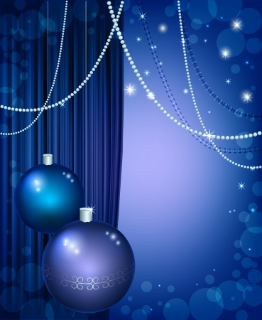 blue silk: Beautiful Christmas background with curtain, snowflakes and tinsel