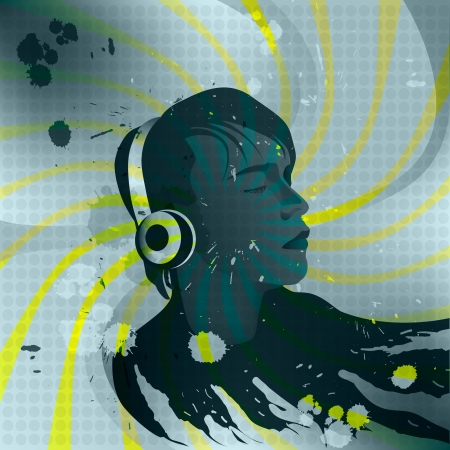 cd rom: young man with headphones listening to music, Cover for CD ROM, music poster