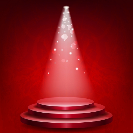 空の表彰台赤グランジ背景上のライトを点灯