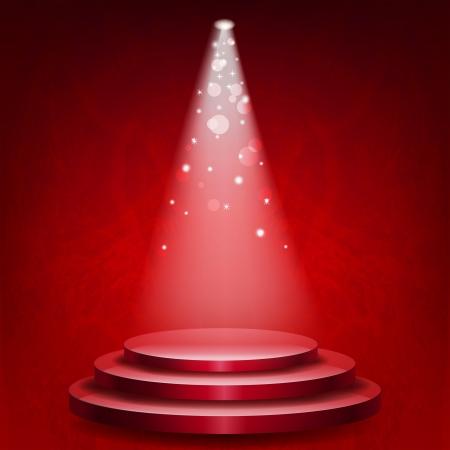 Leeg podium verlicht lichten op rode grunge achtergrond Stock Illustratie