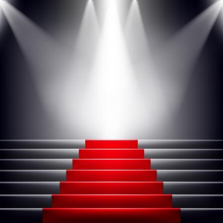 escalera: Escaleras cubiertas con la alfombra roja. Escena iluminada por un foco Vectores