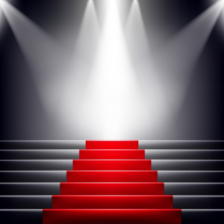 Stairs covered with red carpet. Scene illuminated by a spotlight Çizim