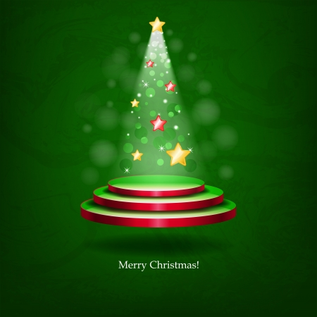 Glowing Christmas tree. The original idea for a Christmas card