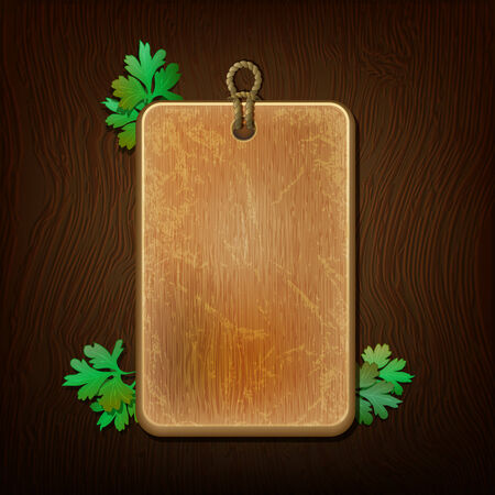 Wooden background with leaves of parsley, menu template