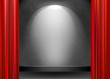 Scene illuminated by a spotlight and open the red curtain Stock Vector - 23868012