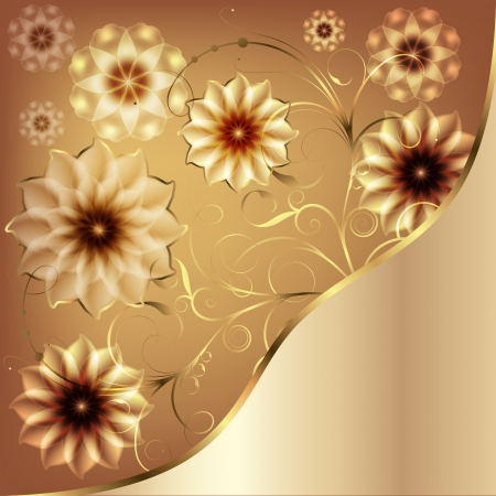 anniversary backgrounds: Beautiful flowers greeting with gold monograms and flowers