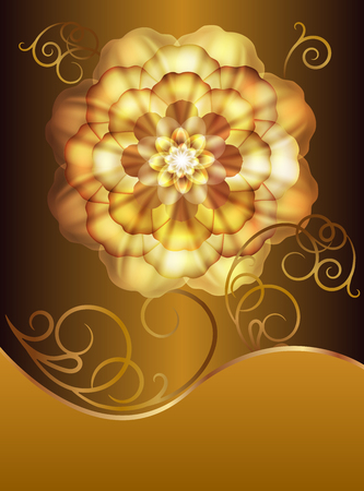 metal spring: Beautiful card with a gold flower and monograms