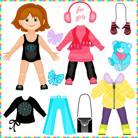 Paper doll with a set of clothes. Cute fashion girl. Template for cutting.