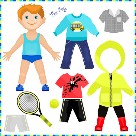Paper doll with a set of clothes. Cute trendy boy. Template for cutting. Vector