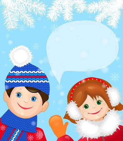 place for children: Tarjeta con ni�os alegres tarjeta de Navidad, hay un lugar para el texto Vectores