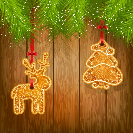 Cookies on a Christmas tree on a background of a wooden texture  Christmas decoration  Vector