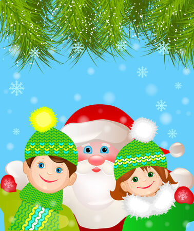party hats: Santa Claus with a boy and a girl under the Christmas tree  Christmas design Illustration
