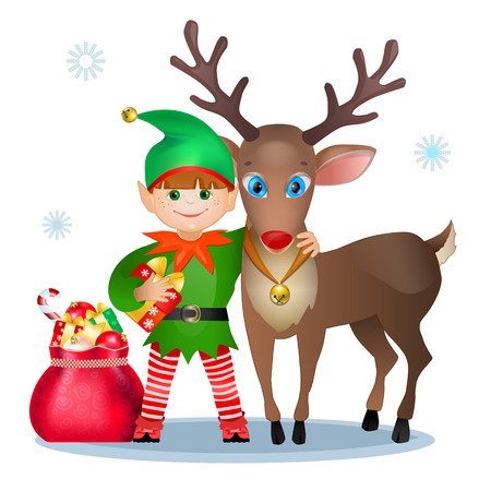 Funny elf and reindeer, christmas card Vector