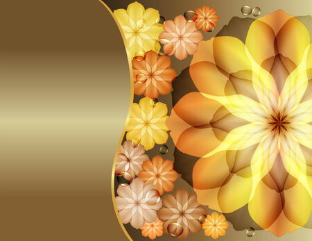 Beautiful flowers greeting with gold  flowers Vector