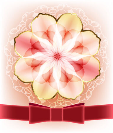 Beautiful card with a pink flower and a red ribbon Vector