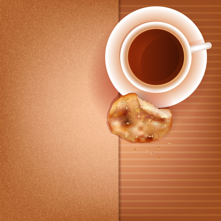 Cup of coffee and cookies with sesame seeds Vector