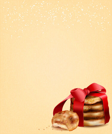 sesame: Sesame cookies on old paper texture. Place for your text. Christmas design