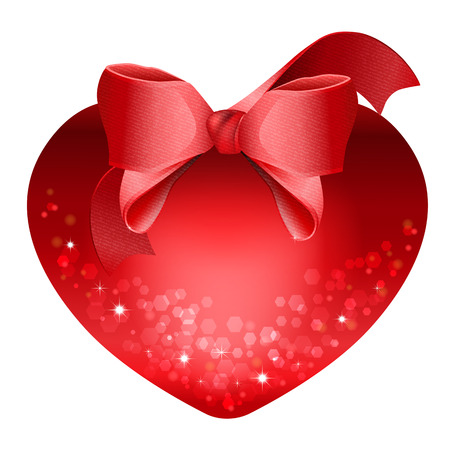 Heart with red bow isolated on white background. The idea for Valentines Day Illustration