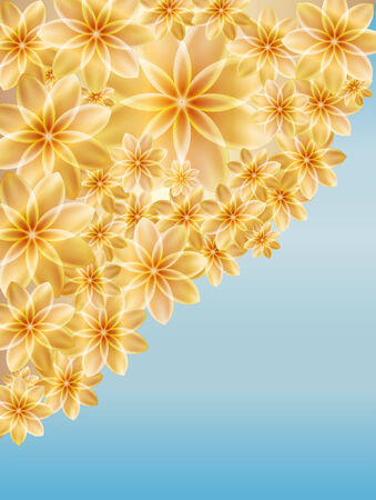 Original Floral Background Gold Flowers On A Of Blue Sky Stock Vector