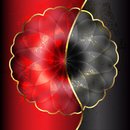 red and black flower with gold Vector