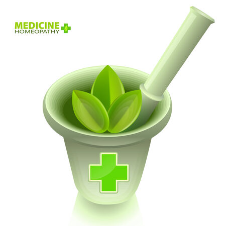 homeopathy: Medical mortar with pestle and a green cross  Alternative medicine and homeopathy  Medical emblem, isolated on white background
