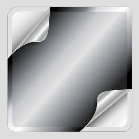 Metallic silver sticker with curled corners