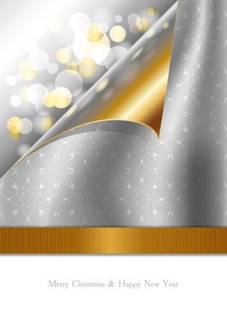 Mooie Kerstkaart met gouden en zilveren ontwerp Imitatie krullen pagina Stock Illustratie