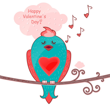 Little bird sitting on a branch and sings  Postcard to Valentinov Day Postcard to Valentinov Day Vector