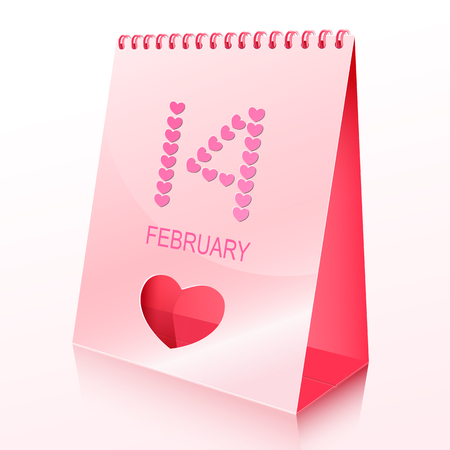 Desk calendar with spiral cut and heart  The idea for Valentine Stock Vector - 24476811