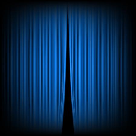 Blauwe gesloten het gordijn, verlicht door een schijnwerper Stock Illustratie