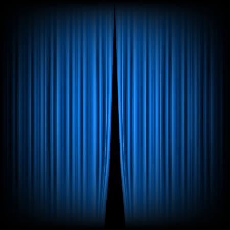 blue curtain: Blue closed the curtain, lit by a spotlight Illustration