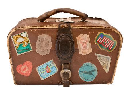 Reis Koffer met stickers Vintage koffers Geïsoleerd op witte achtergrond Stockfoto